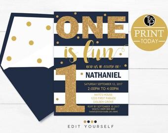 BOY 1st Birthday INVITATION, Instant Download, Navy Gold 1st Birthday Invitation, Boy First Birthday Invitation, Navy Stripes Boy Invitation
