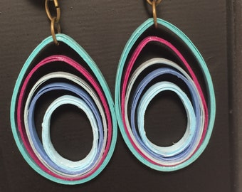 earrings, paper quilling jewelry, eco friendly jewelry, lightweight earrings, colorful jewelry, paper quilling