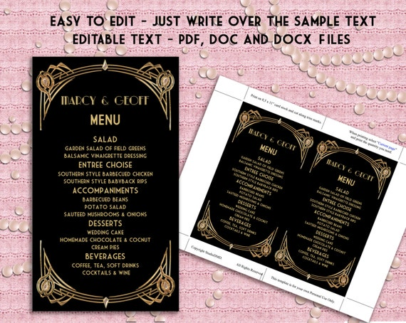 how to write a menu card