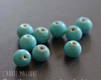 25 round glass beads - Indian - sized blue 7 mm