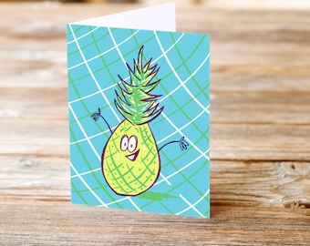 Silly Pineapple Fun Happy Birthday Greeting Card