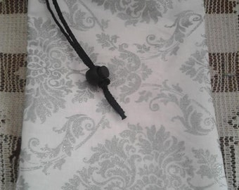 Silver Damask Print Dice Bag