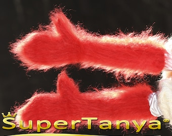 Made to order hand knitted thick and fuzzy mohair mittens in bright red by SuperTanya