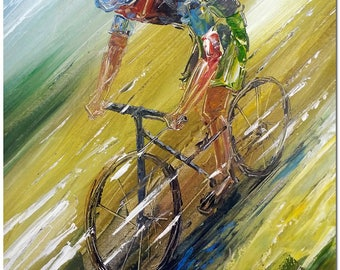 Cycling Race - Hand Painted Palette Knife Abstract Bicycle Oil Painting ARTIST CERTIFICATE INCLUDED