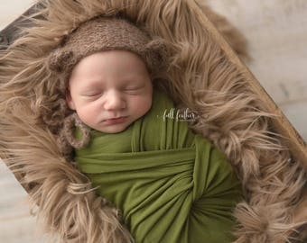 Light Brown Mongolian Faux Fur Nest Photography Prop Rug Newborn Baby Toddler