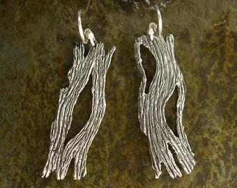 Driftwood Woodgrain Earrings in Sterling Silver