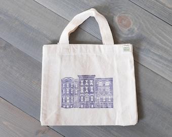 Mini tote bag, Reusable gift bag, Brooklyn brownstones, Kids tote, Boho bag, Brooklyn baby gift bag, Block print tote, Canvas tote bag