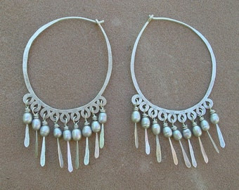 Large Silver Hoops with Gray Pearl Dangles