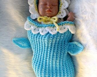 Daisy Cocoon and Bonnet Crochet Pattern 644pdf