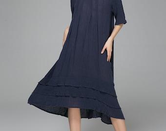 loose dress, house dress, sundress, summer dress, blue dress, linen dress, womens dresses, long dress, prom dress, oversized dress 1400