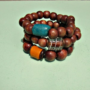 Stackable Stretch Wood and Glass Strong Elastic Bracelets Choose Your Style: State Fair