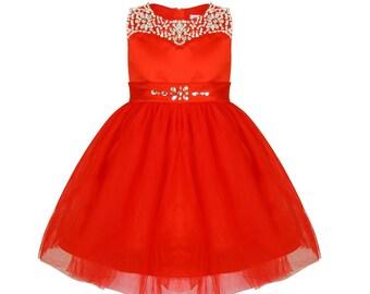 Ruby Sparkle Flower Girls Dress