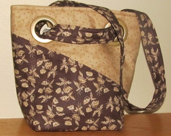 Brown and Tan Print Grommet Purse