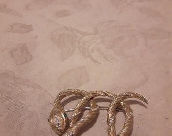 Vintage Gold Tone Curled Snake Brooch - Emerald Rhinestone Eyes - Clear Rhinestones - 1970s - Wedding/Birthday/Anniversary/Mother's Day