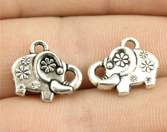 6 Elephant Charms, Antique Silver Tone Charms (A-199)