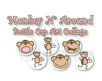 Monkey n' Around Collage 3/4 inch or 1 inch Bottle Cap Disc-Its Scrapbooking Boutique Digital Collage Art Sheet