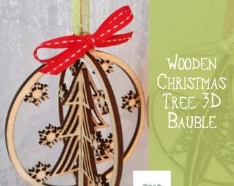 Christmas tree bauble, wooden 3D christmas tree hanging decoration