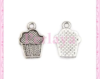 Set of 15 charms cakes muffins silver REF020X3