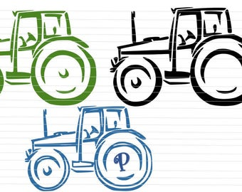Tractor Monogram SVG Tractor SVG Cricut Silhouette Digital Download Tractor PNG