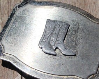 Vintage Belt Buckle with Cowboy Boots