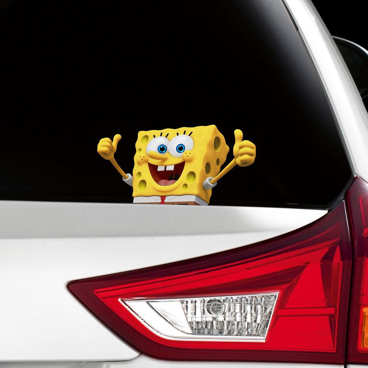 SpongeBob Peeking On Board Funny Joke Novelty Car Bumper - Spongebob decals for cars