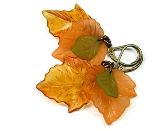 Leaf Earrings, Autumn Lucite Maple Leaf Earrings, Fall Color, Orange Tan and Green Earrings, Botanical Gifts for Gardeners, jewelrybyNaLa