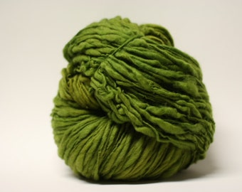 Merino Yarn Hand Spun Thick and Thin Bulky Wool Slub  Hand Dyed tts(tm) Half-pounder Olive