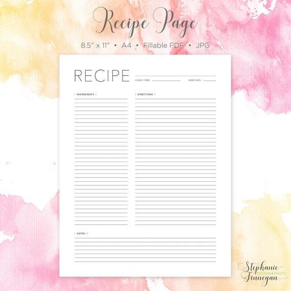 Rezept-Seite Rezept-Buch Druckbare Rezept Rezept-Karte