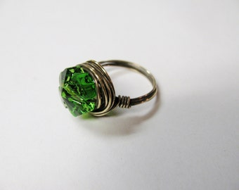 Swarovski Emerald Green Clover Crystal and Antiqued Brass Ring