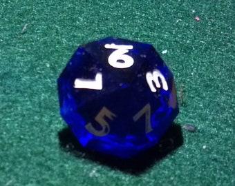 purple D10 inked gem