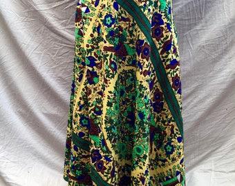Beautiful Vintage 70s Wrap Around Circle High Waisted Long Skirt