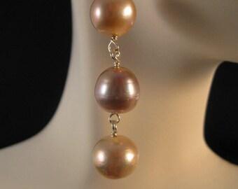 Pearl Drop Earrings, fresh water pearl earrings, silver earrings, dangle earrings, cultured pearl, earrings, pearl jewelry, pearl earrings