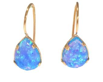Opal Pear Earrings, Blue Opal Earrings, Teardrop Earrings, 14K Drop Earrings, 14K Pear Earrings, Blue Opal Jewelry, Handmade Earrings,