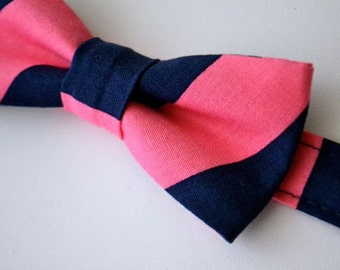 Boys Bowtie Navy Blue and Pink Stripe, Navy Bow Tie, Ring Bearer Bow Tie, Navy and Pink Wedding, Ring Bearer Gift