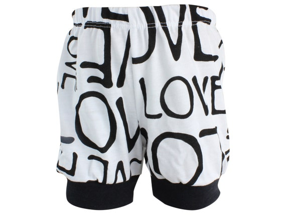 LOVE Baby Shorts Black and White Toddler Shorts Unisex Baby Shorts LOVE Girl Shorts Baby Leggings Love Baby Shorties Cuff Shorts