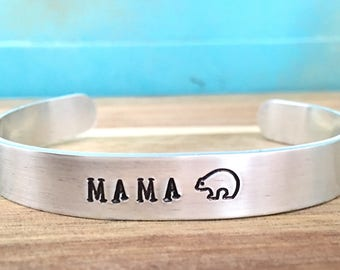 Personalized Mama Bear Bracelet, Mama Bear Jewelry, Mom Cuff Bracelet, Custom Hand Stamped Mom Jewelry, Mother Bracelet, Kids Name Jewelry