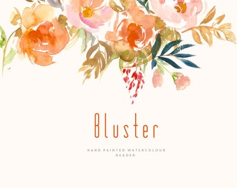 Watercolour Flower Header Clipart - Bluster