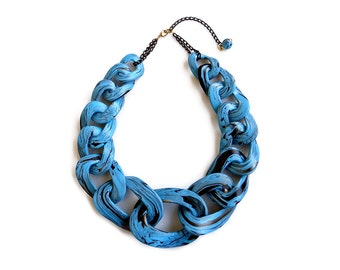 Statement Chain Link Necklace, Faux Turquoise Necklace, Polymer Clay Necklace