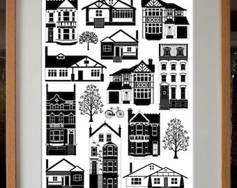 Mixed Houses Digital Art Print