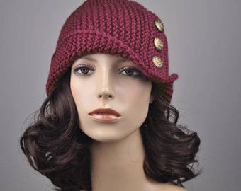 Hand knit hat woman winter hat Fold band burgundy hat wine button wool hat-ready to ship