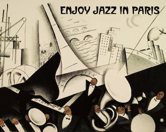 Music Enjoy Jazz In Paris France French  Band Vintage Poster Repro FREE SHIPPING