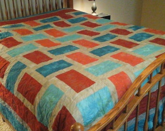 King size  red and turquoise  grunge  look quilt