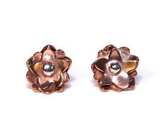 Small Flower Stud Earrings in Copper