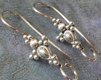 Victorian Sterling Silver Ear Wires ~ 27mm x 7mm ~ One Pair