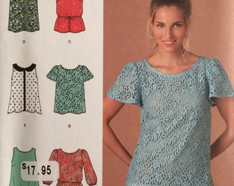 Simplicity 1693, Size 4-6-8-10-12, Misses' Tops Pattern, UNCUT, T-Shirt Pattern, Sleeveless Top, 2013, Casual Top, Elastic Waist, Collar