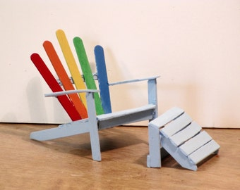 Miniature Adironack chair painted rainbow