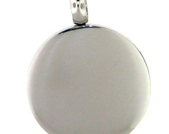 Stainless Steel Round Charm, Free Engraving