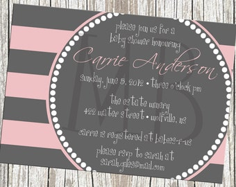 Contemporary Stripes Baby Shower Invitation - Baby Girl or Boy - Grey with Blue, Yellow or Pink