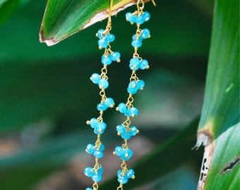 Gold filled over sterling silver beaded Chalcedony chain earrings