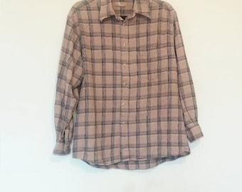 Brown Plaid Flannel Shirt Vintage Flannel Button Up Men's Vintage Brown and Blue Checkered Shirt Vintage Cotton Shirt 90s Grunge Flannel Top